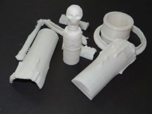 heap of things printed from white PLA