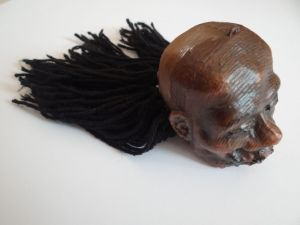 shrunken head hair applied